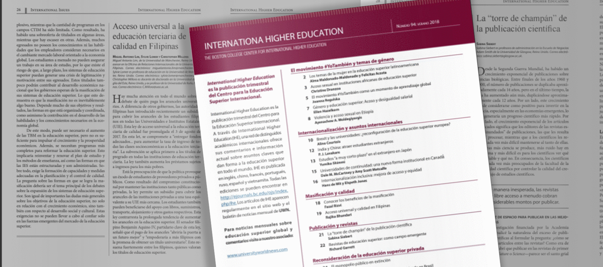 Nº 98 de la Revista International Higher Education